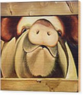 Tricia The Pig Wood Print