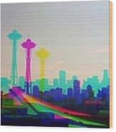Tricolor Seattle Space Needle Wood Print