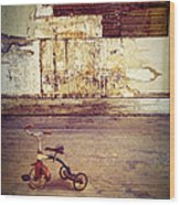 Tricycle In Abandoned Room Wood Print