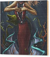 Tridacna - Red Wood Print