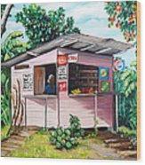 Trini Roti Shop Wood Print