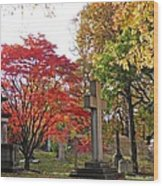 Trinity Cemetery Wood Print by Sarah Loft