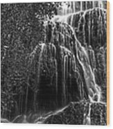 Trinity Waterfall In Monasterio De Piedra Park Bw Wood Print