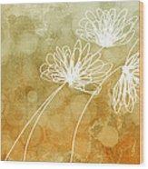 Trio Abstract Flower Art  Wood Print
