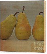 Trio Of Pears Wood Print