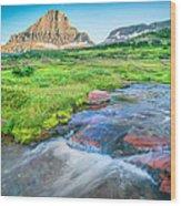 Triple Falls Stream Glacier National Park Wood Print