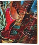 Triple Header Digital Banjo And Guitar Art By Steven Langston Wood Print