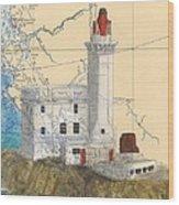 Triple Islands Lighthouse Bc Canada Chart Art Wood Print