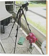 Tripod And Roses On Floor Wood Print