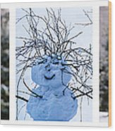 Triptych - Christmas Trees And Snowman - Featured 3 Wood Print