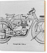 Triumph-bat 750c.c. Wood Print