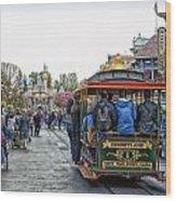 Trolley Car Main Street Disneyland 01 Wood Print