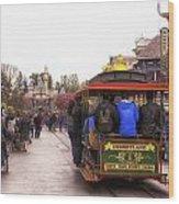 Trolley Car Main Street Disneyland 02 Wood Print