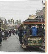 Trolley Car Main Street Disneyland 03 Wood Print