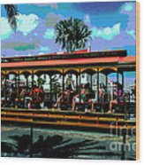 Trolley Stop Wood Print