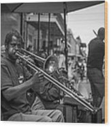 Trombone In New Orleans 2 Wood Print by David Morefield