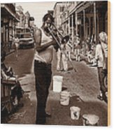 Trombone Man On Royal St. New Orleans Wood Print