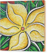 Tropical Abstract Pop Art Original Plumeria Flower Painting Pop Art Tropical Passion By Madart Wood Print