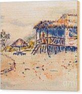 Tropical  Beach Hut Wood Print