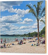 Tropical Beach In Port Dover Wood Print