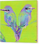 Tropical Birds Blue And Chartreuse Wood Print