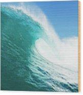 Tropical Blue Ocean Wave Wood Print
