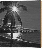 Tropical Bridge In Black And White Wood Print