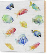 Tropical Fish Round Wood Print