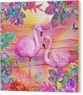 Tropical Flamingo Wood Print