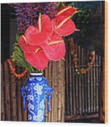 Tropical Flowers In A Porcelain Vase Wood Print