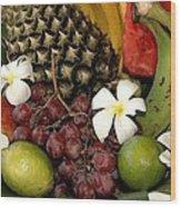 Tropical Fruit Basket Wood Print by Cole Black