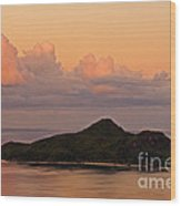 Tropical Island At Sunset Wood Print