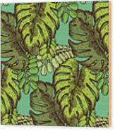 Tropical Leaves Pattern Wood Print