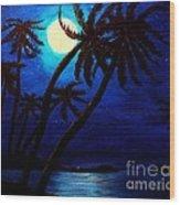 Tropical Moon On The Islands Wood Print