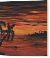 Tropical Night Wood Print