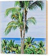 Tropical Palm Trees In Hawaii Wood Print