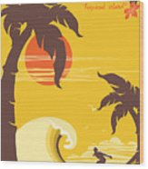 Tropical Paradise With Palms Island And Wood Print
