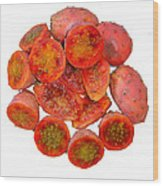 Tropical Red Prickly Pear Fruit  Wood Print
