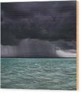 Tropical Storm Approaches Boat Wood Print