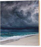 Tropical Storm Over The Caribbean Sea Wood Print