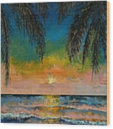 Tropical Sunset Wood Print by Michael Creese