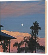 Tropical Sunset With The Moon Rise Wood Print