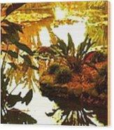 Tropical Water Garden Wood Print