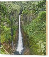 Tropical Waterfall In Volcanic Crater Wood Print