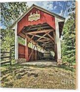 Trostle Town Covered Bridge Wood Print