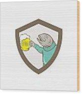 Trout Fish Holding Beer Mug Shield Cartoon Wood Print