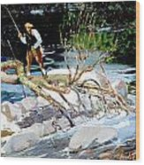 Trout Fishing Wood Print