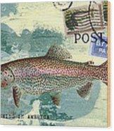 Trout Fishing In America Postcard Wood Print