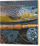 Trout On Fly Wood Print