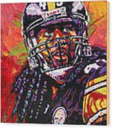 Troy Polamalu Wood Print by Maria Arango